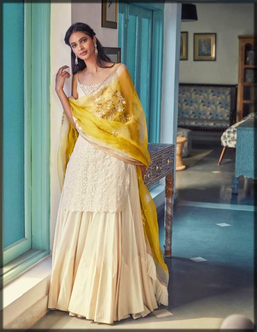 decent plain sharara for engagement bride