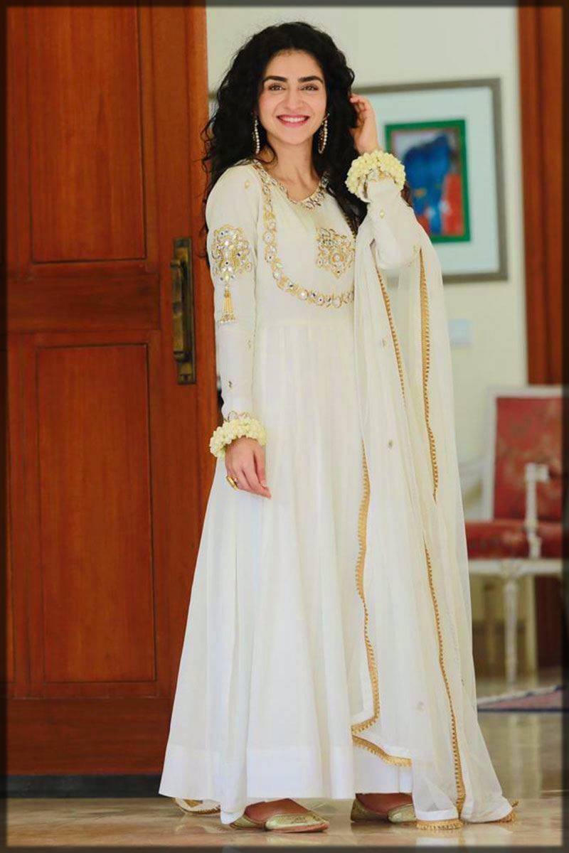 delicate white partywear long frock with mirror work