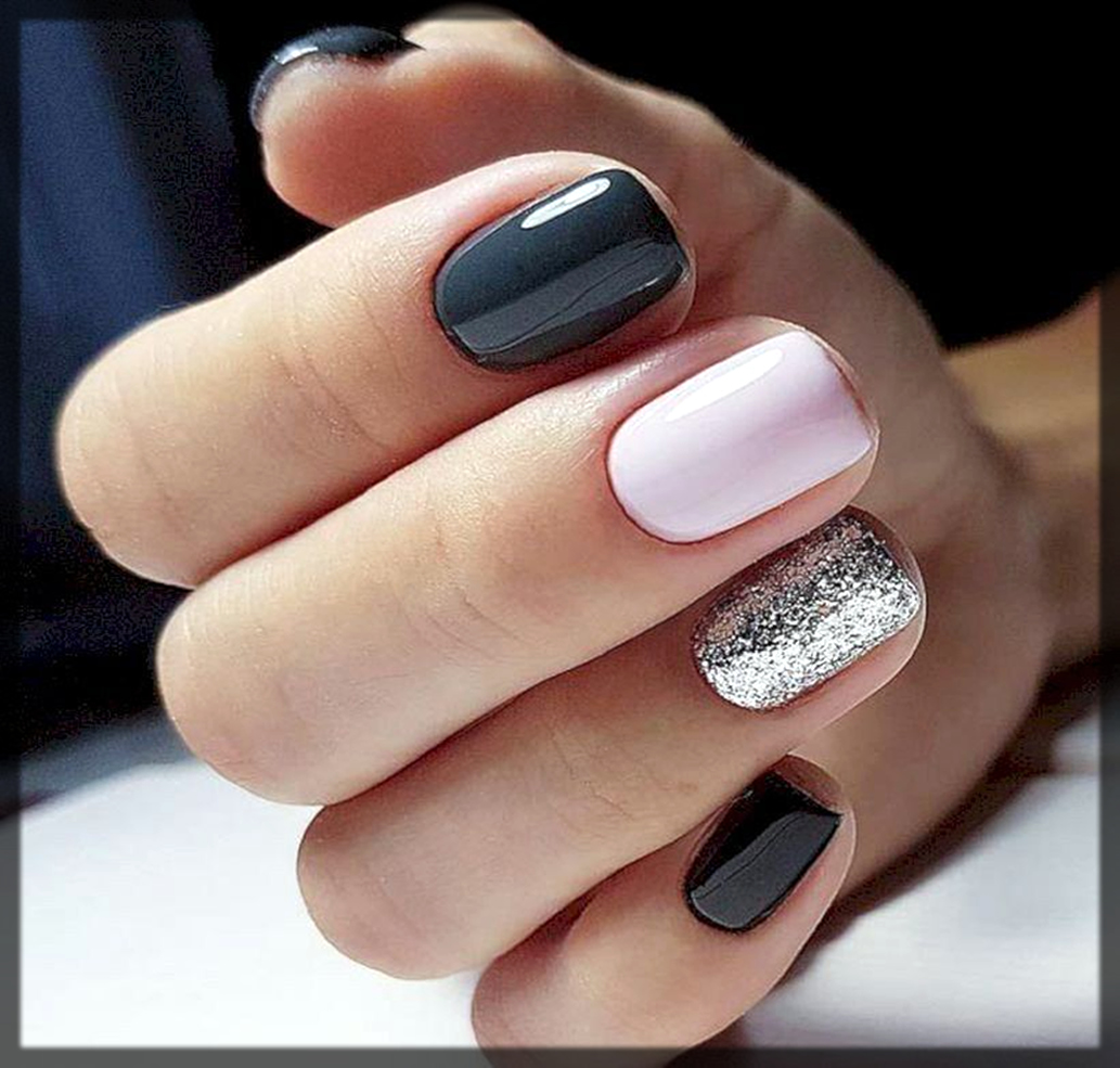 different shaded nail art