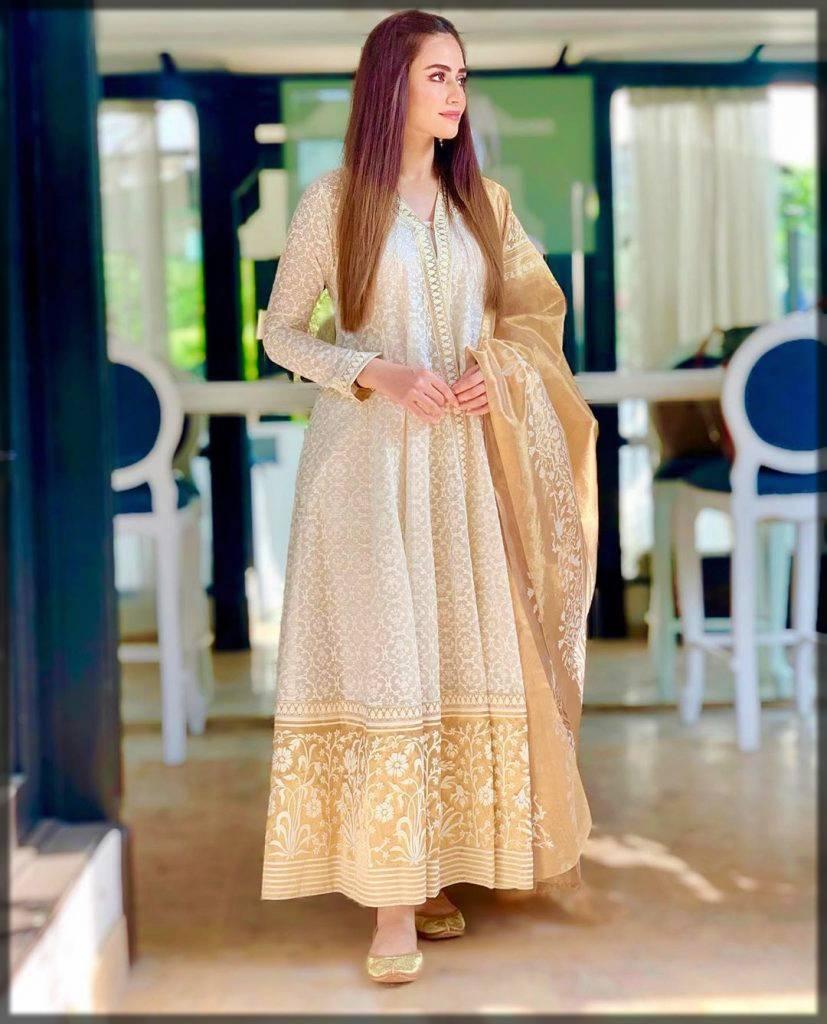 elegant white golden long frock