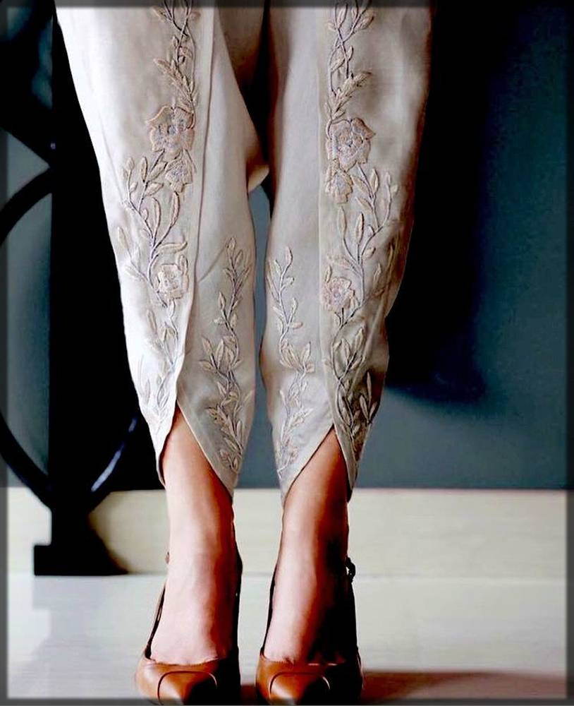 embroidered tulip pant