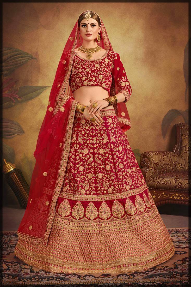 exclusive heavy embroidered lehenga velvet