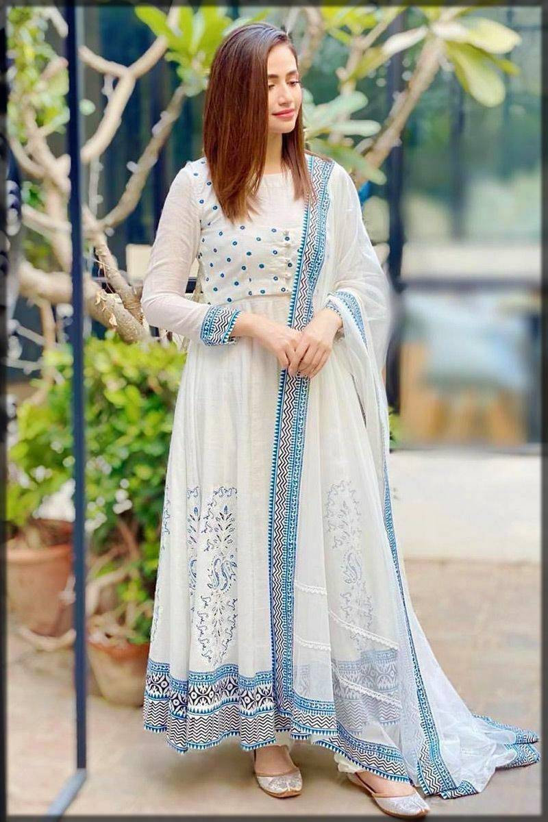 exclusive pakistani style long frock in white