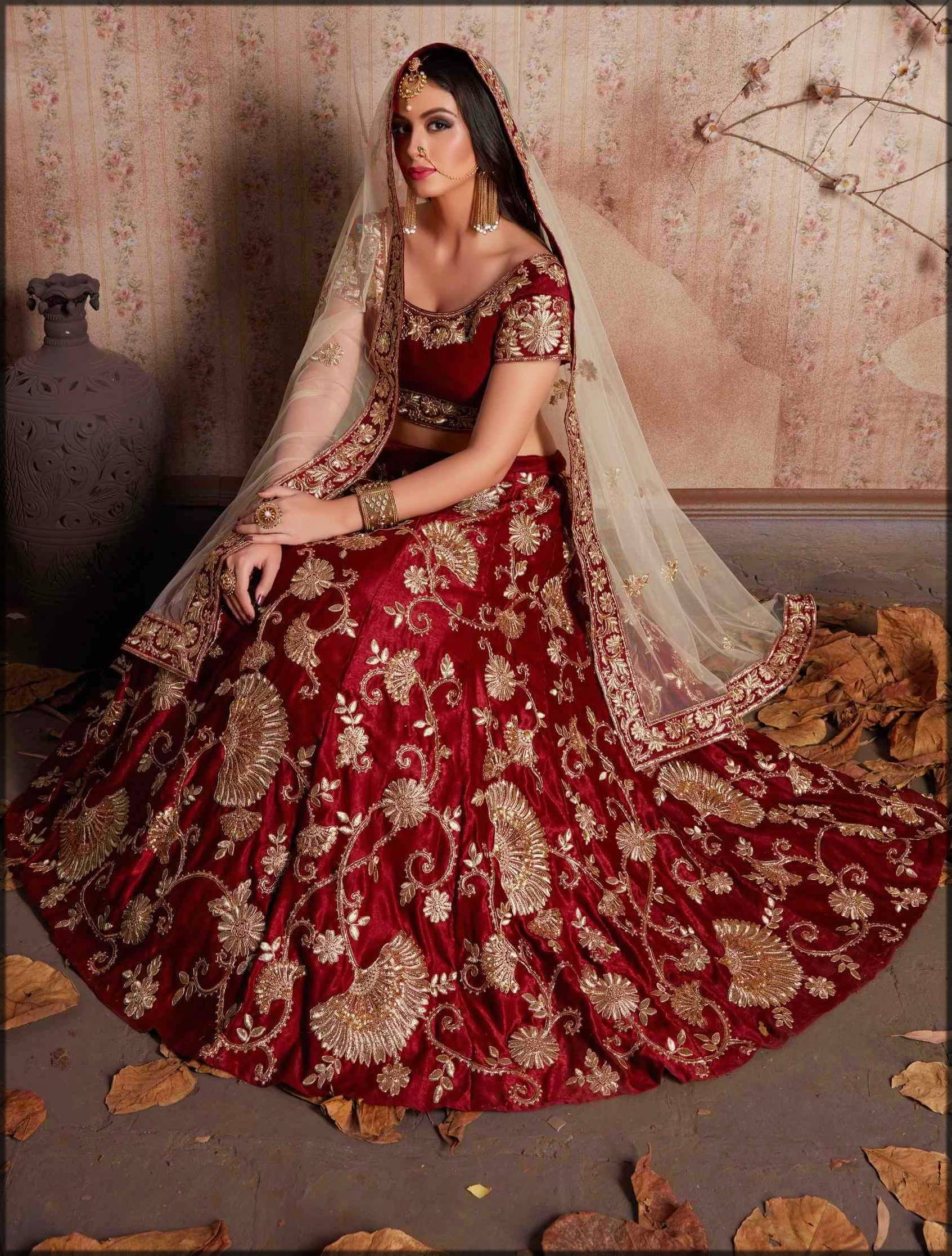 fancy bridal zari work indian lehenga in red