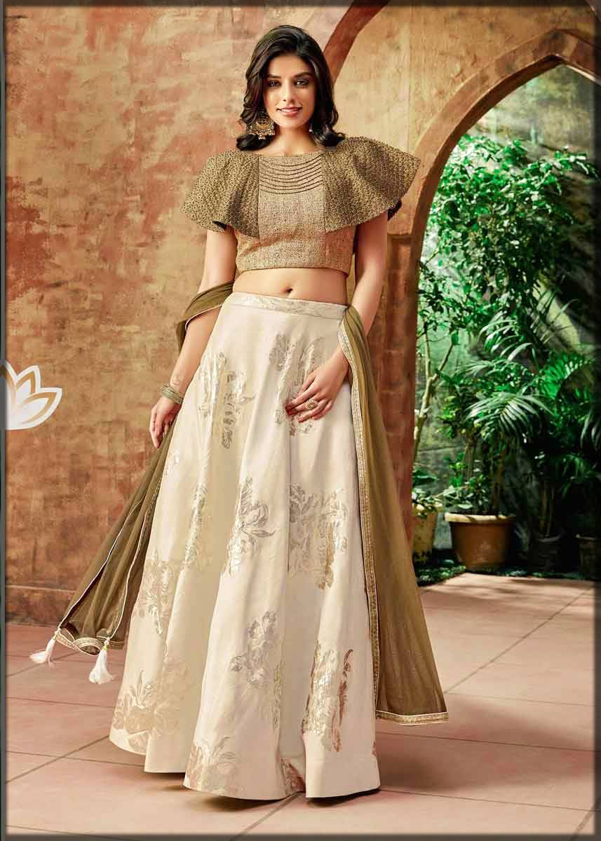 frill sleeves choli with silk lehenga