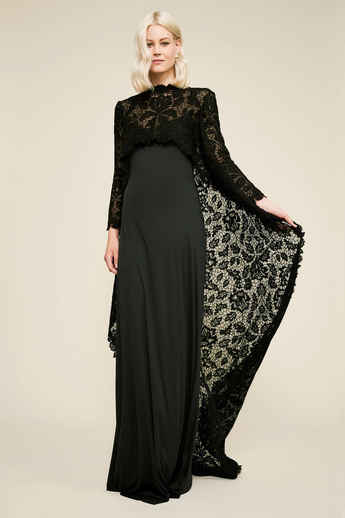 frock with long net cape