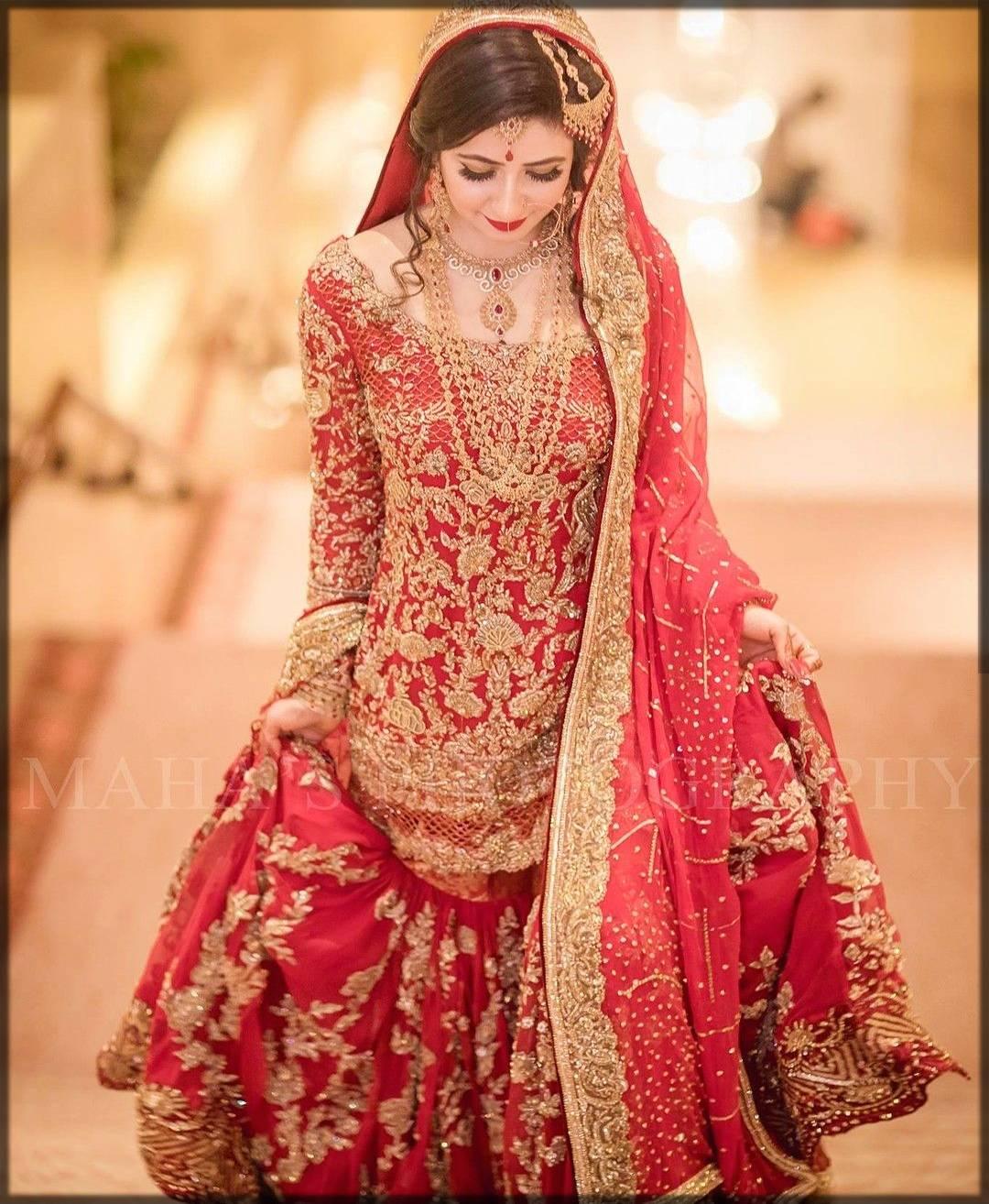 heavy bridal sharara dress for baraat