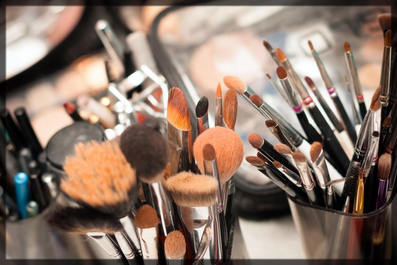 gathered makeup tools