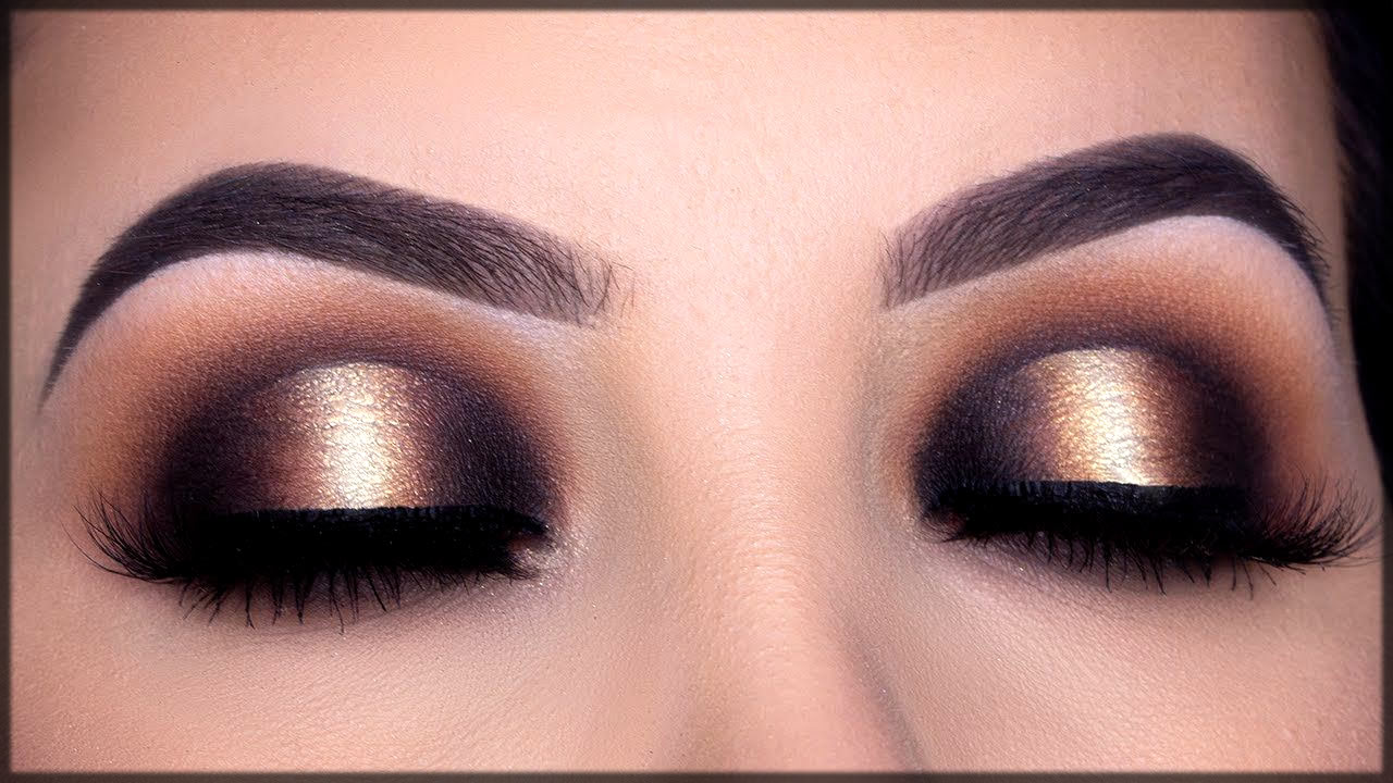 golden smokey make up for women