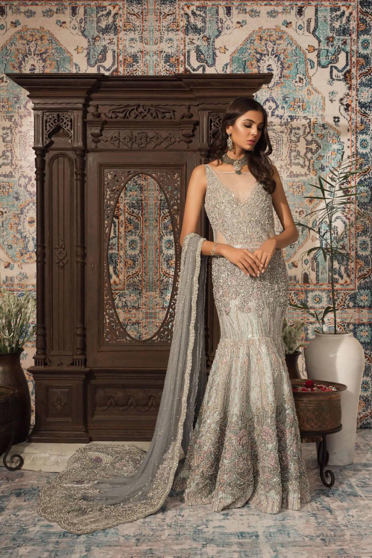 gorgeous blue grey attire Saira Rizwan Bridal Collection
