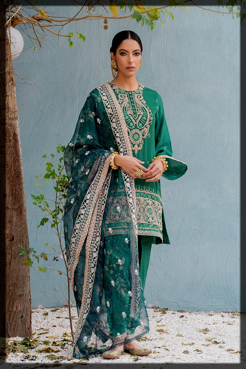 green EMBROIDERED dress for women