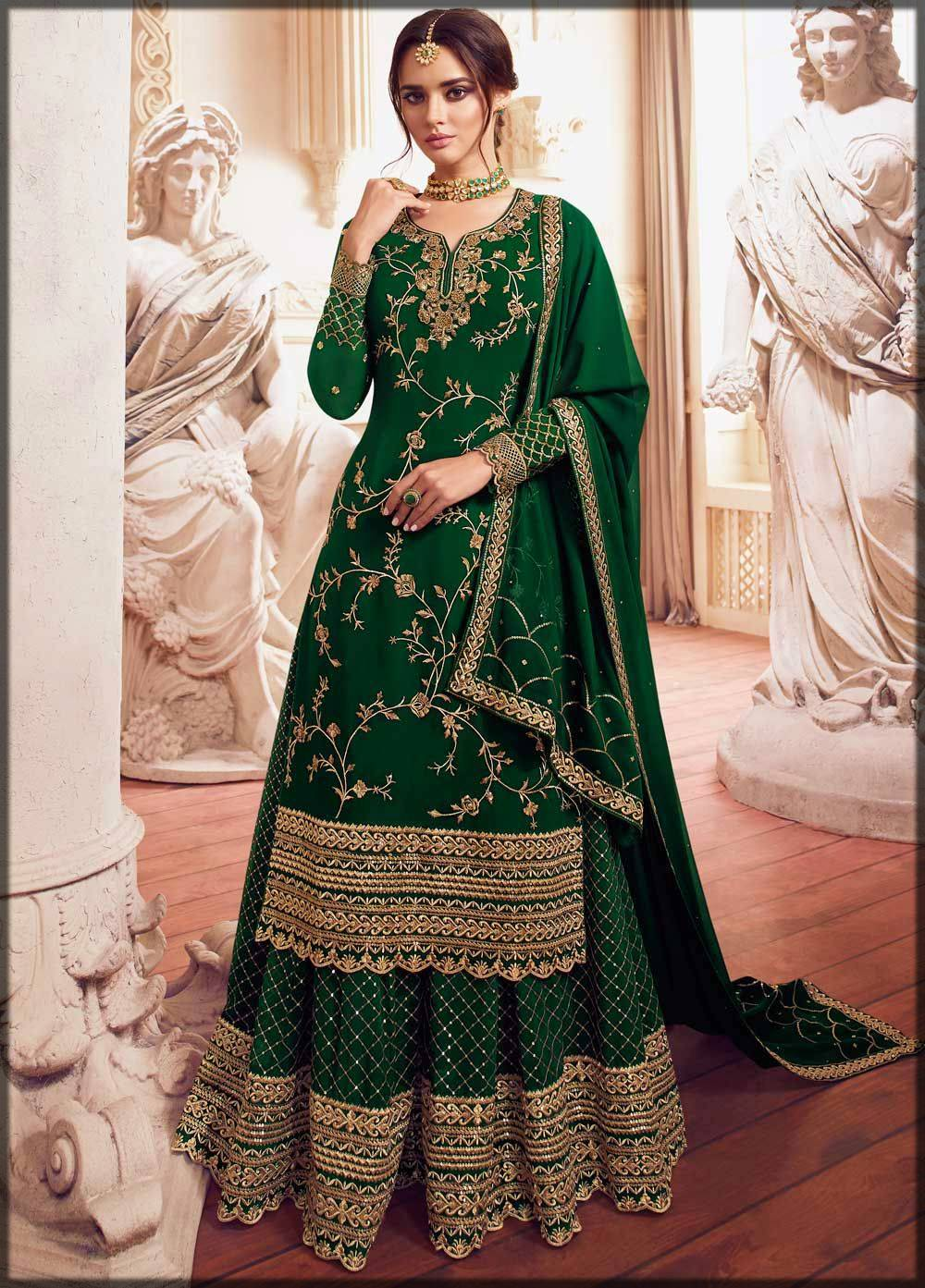 green bridal sharara dress for mehndi
