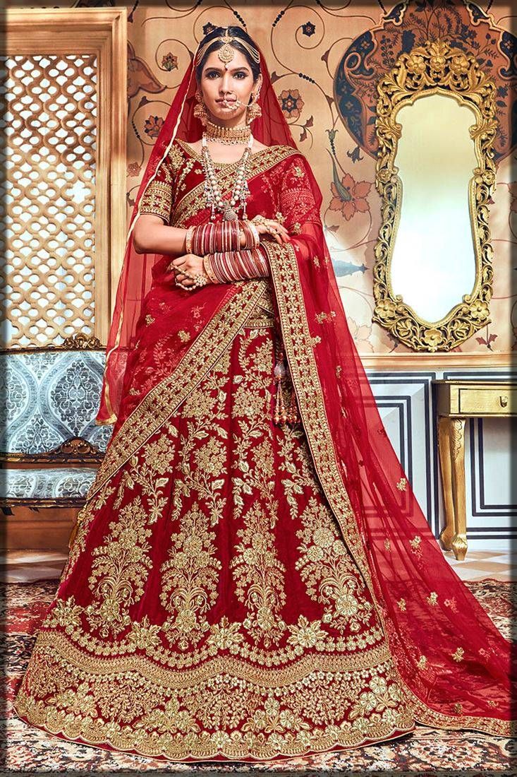 heavily embroidered red indian lehenga