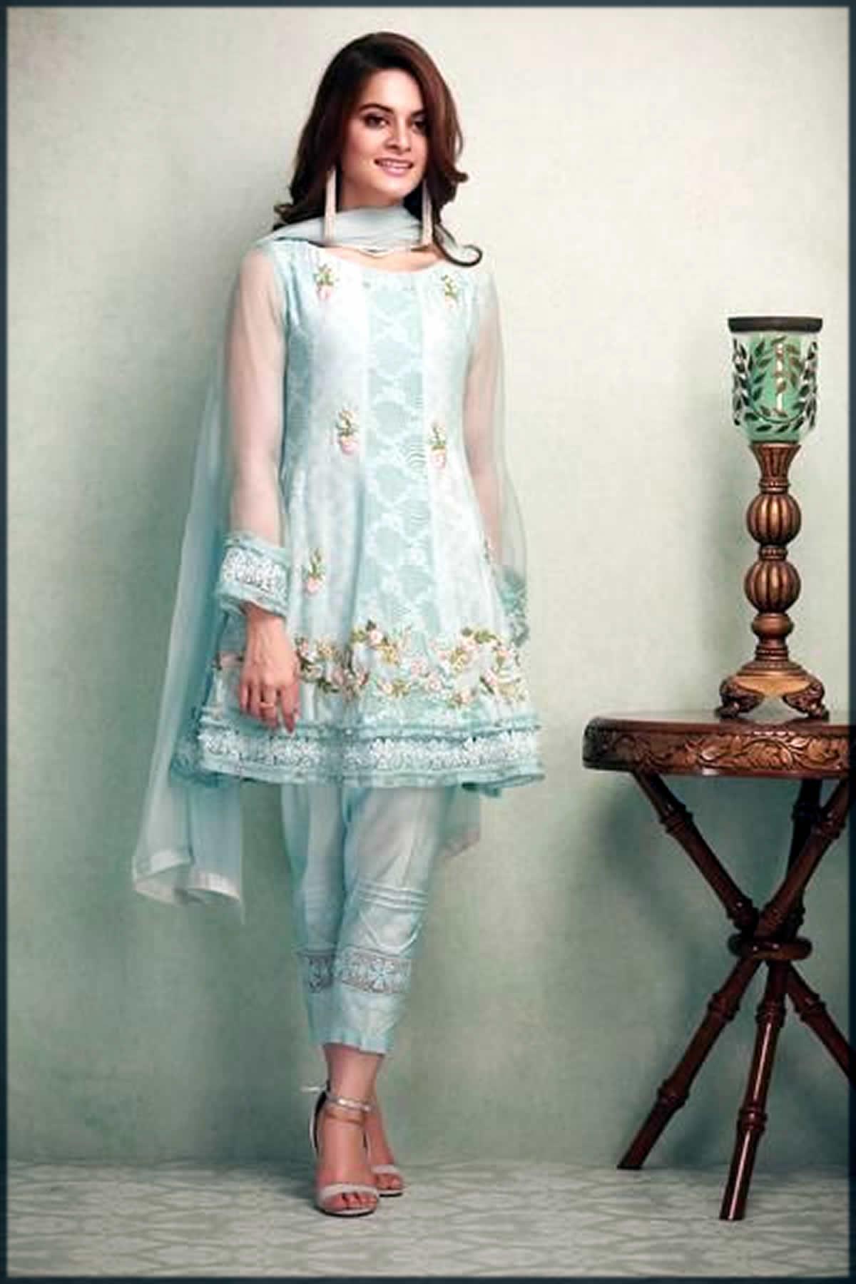 ice-blue Pakistani Peplum Style Dresses