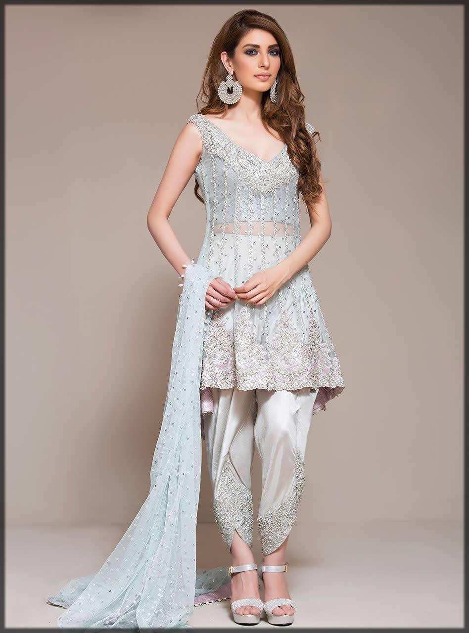 ice blue Pakistani Peplum Style Dresses