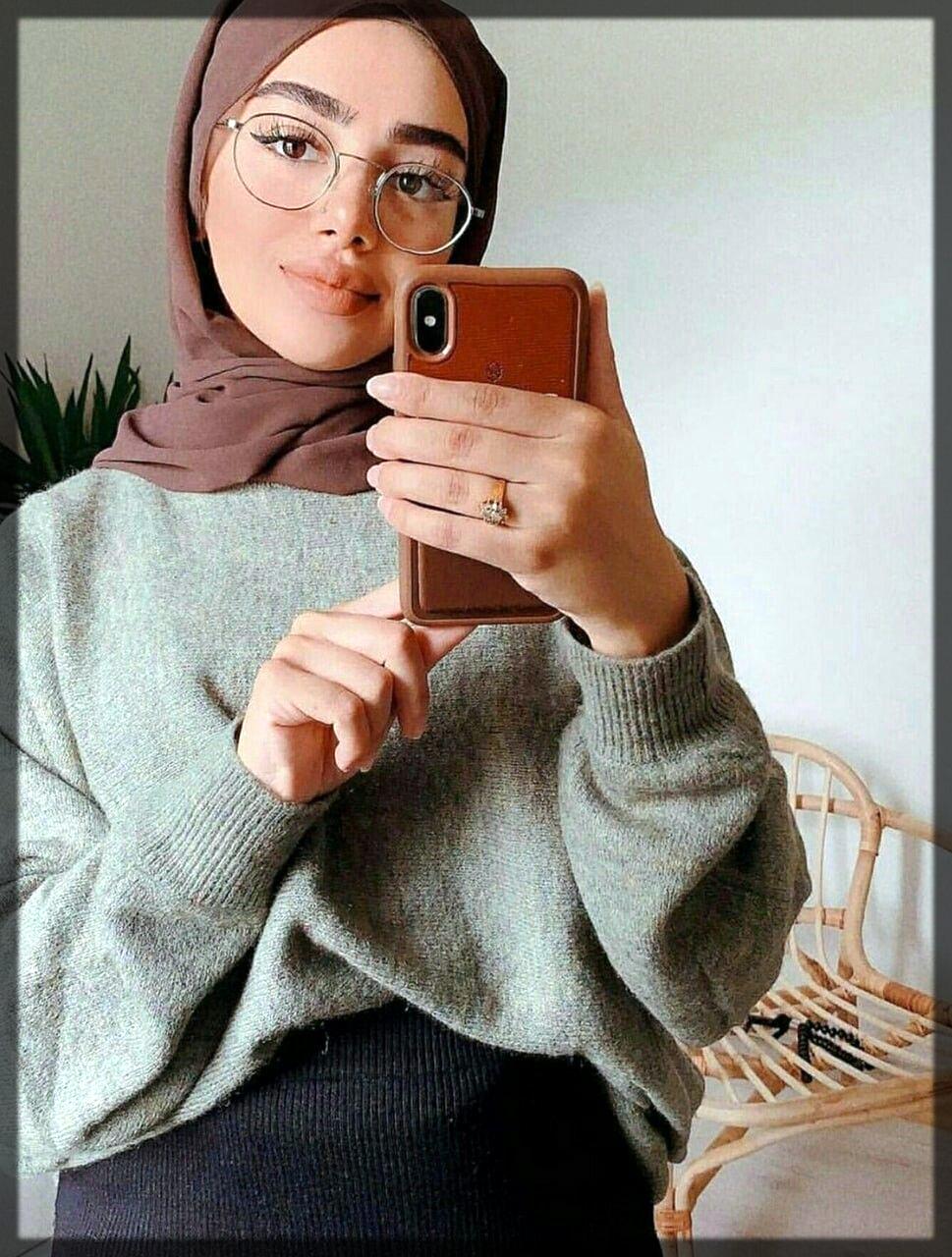 impressive hijab style for heart shape