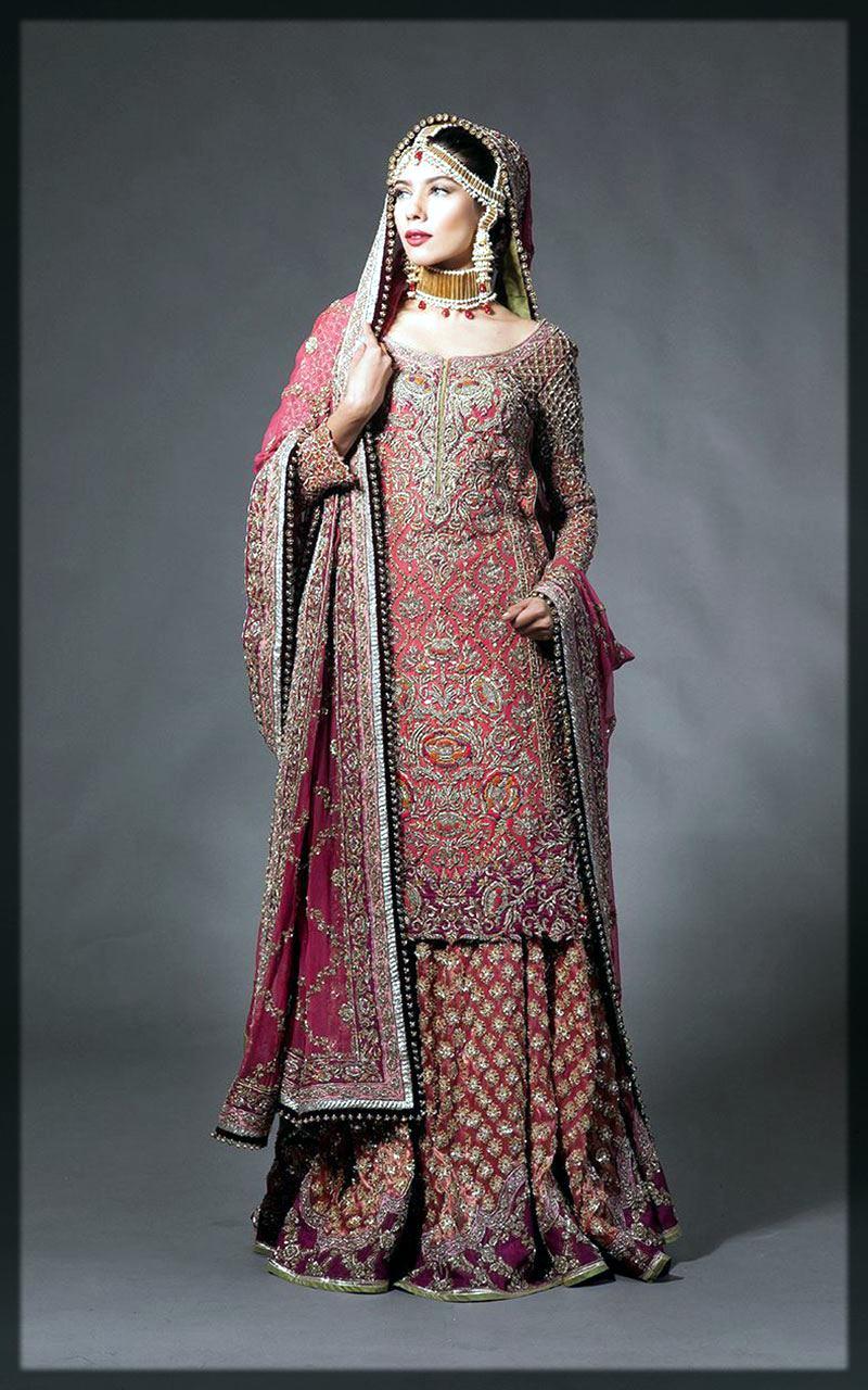 impressive red bridal lehenga