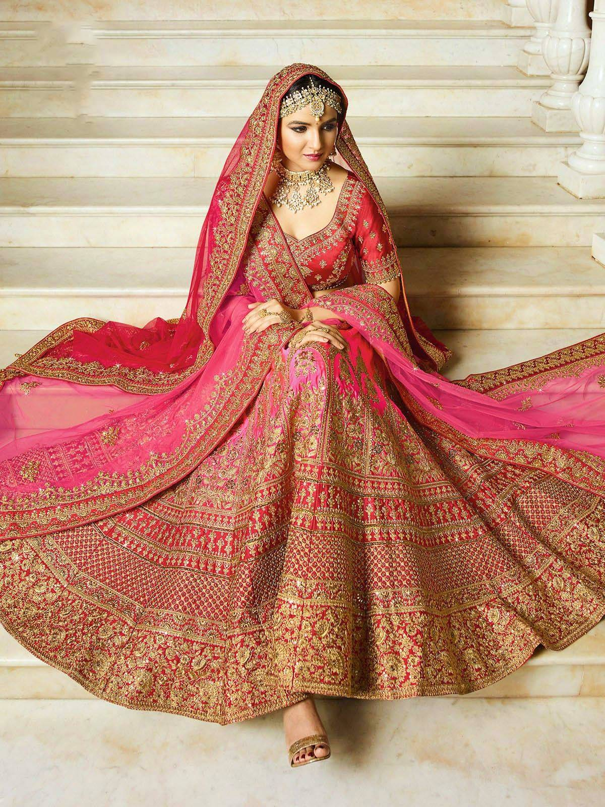 indian bride wearing lehenga choli
