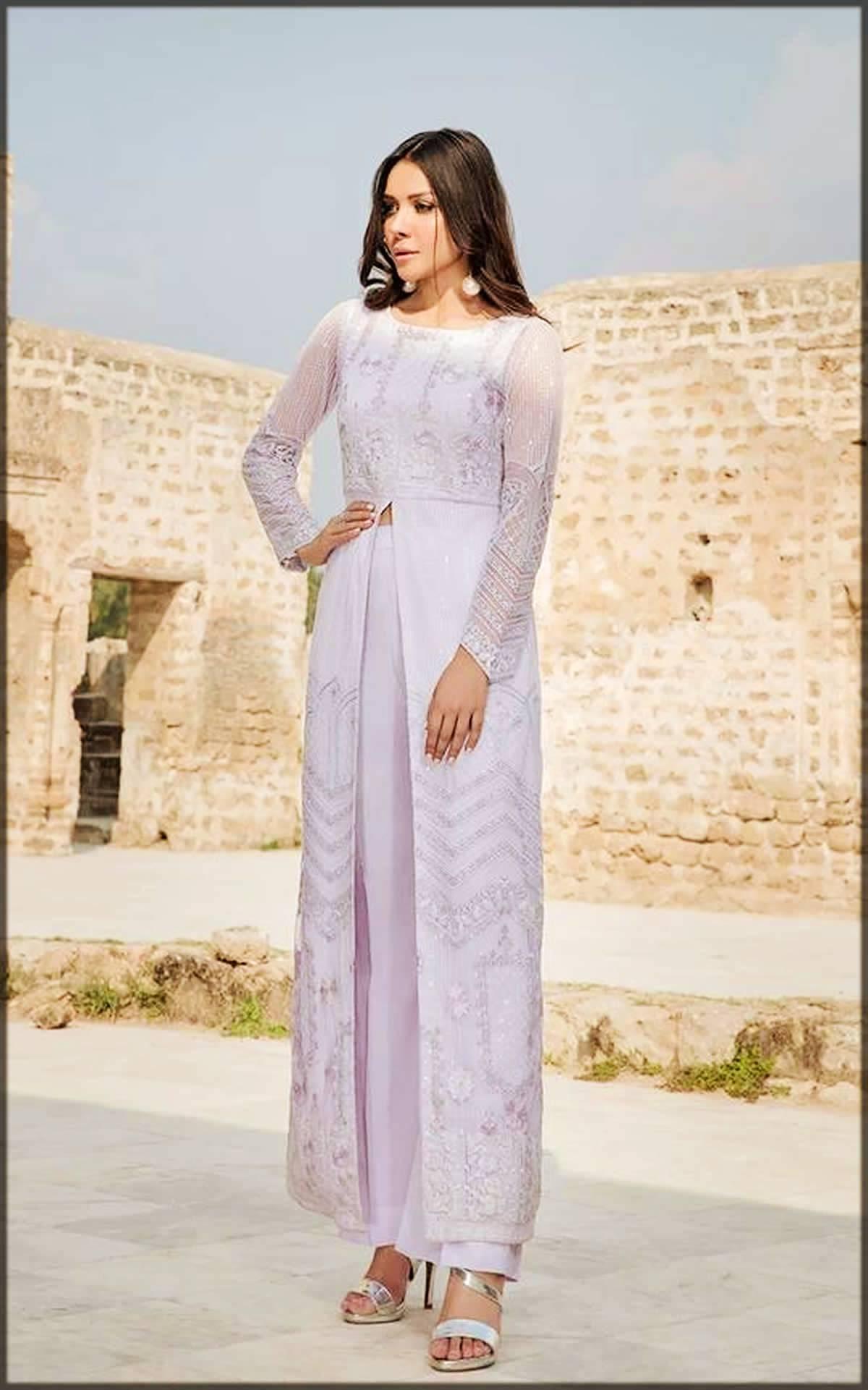 Pakistani Purple Gown Style Dresses