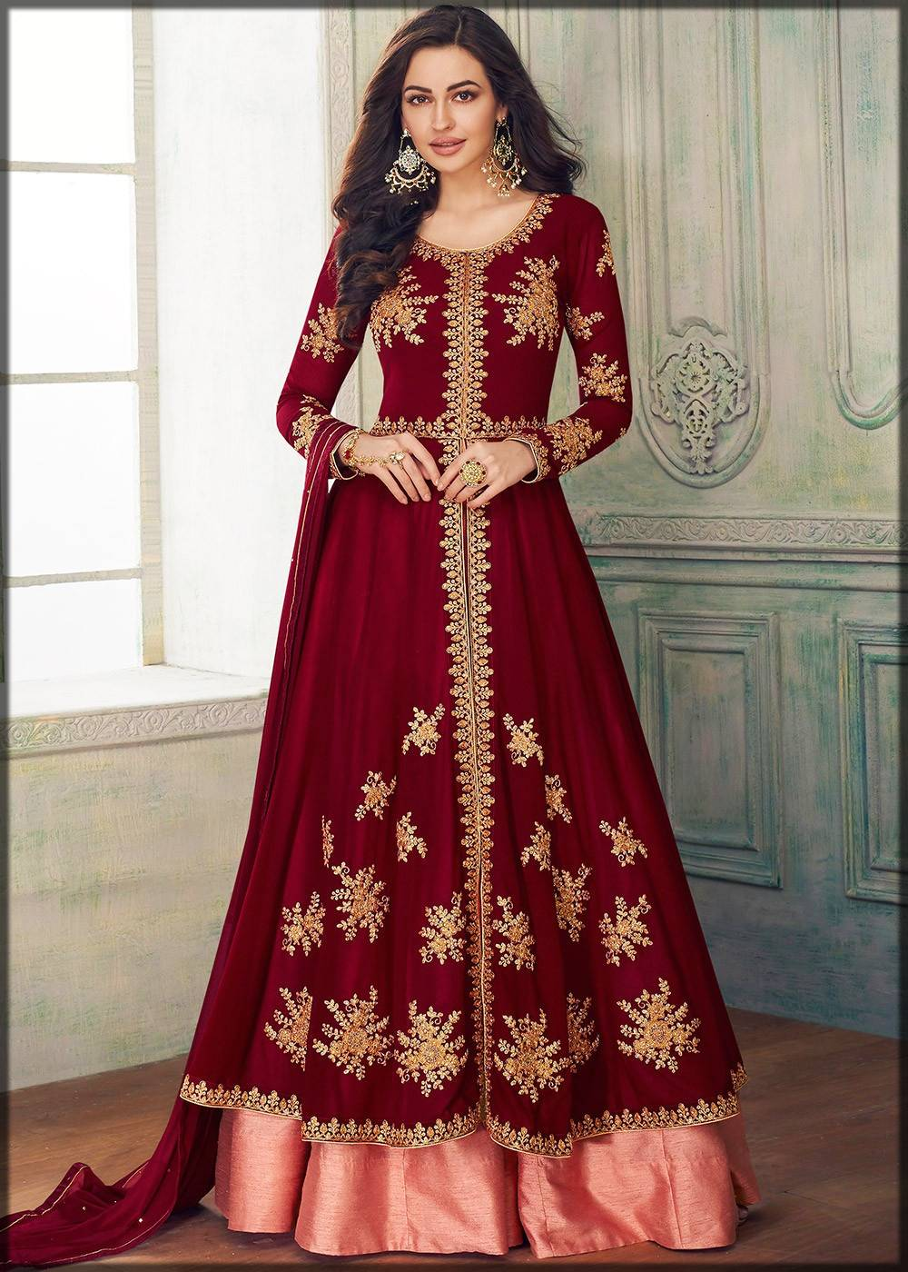 long open frock with sharara