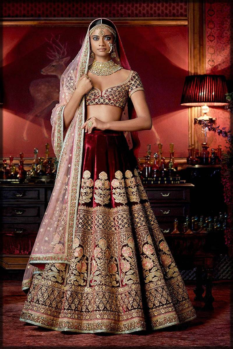 maroom velvet lehenga with short choli