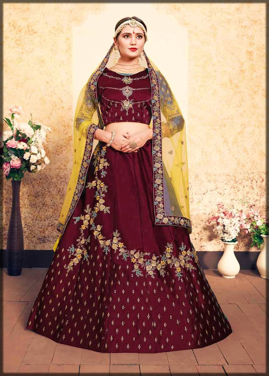 maroon satin traditional lehenga