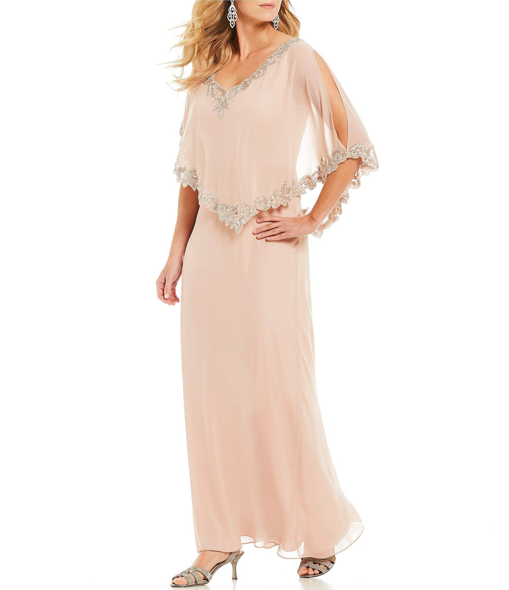 metal silver long gown for partywear
