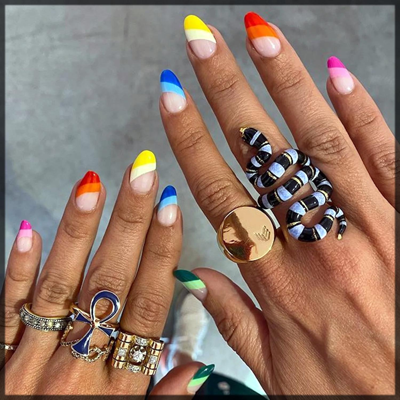 multi color nail art design