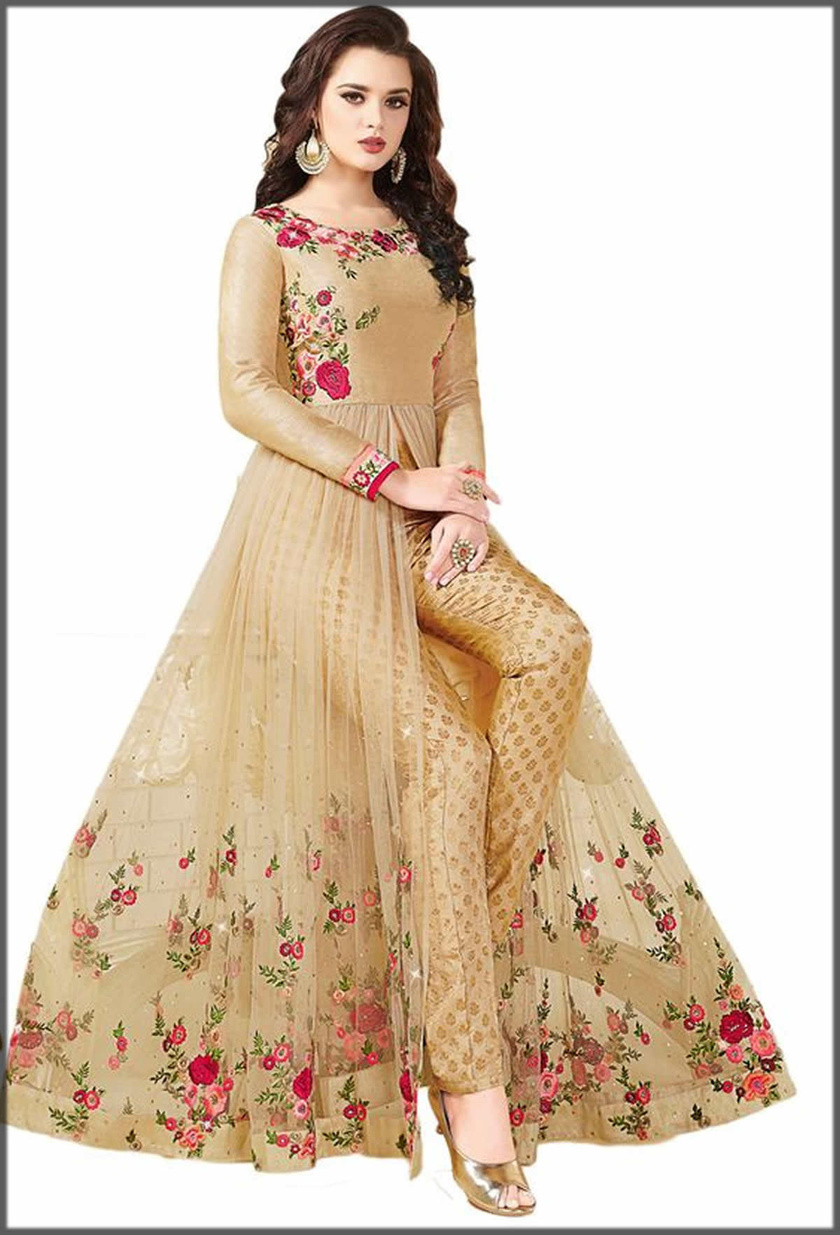 front open long net gown with pants