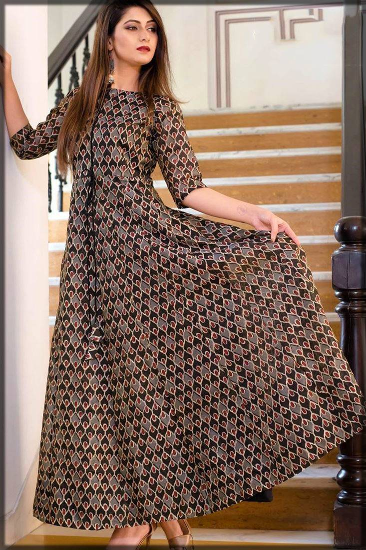 partywear printed gown in brown