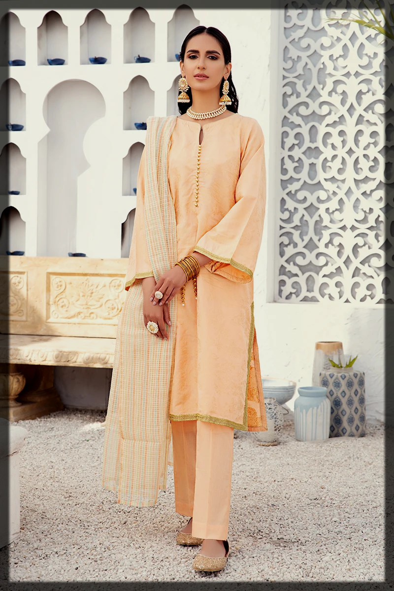 peach 3pc jacquard suit