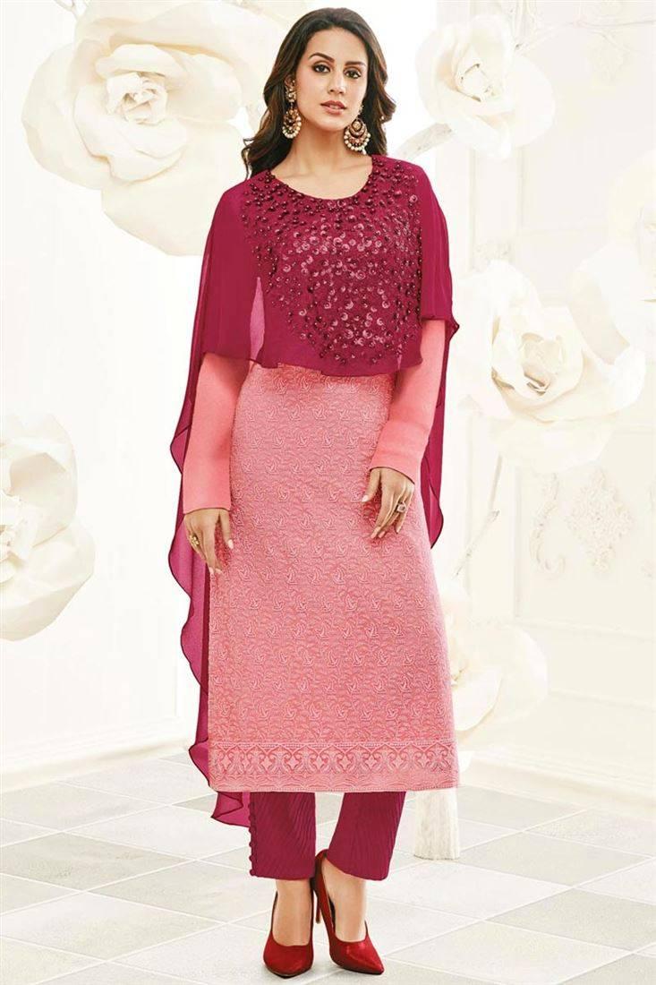 pink georgette cape on shalwar kameez