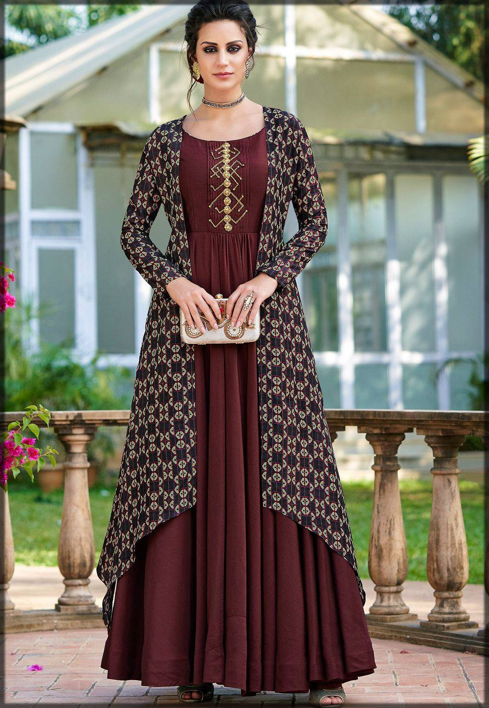 plain long frock with matching shrug