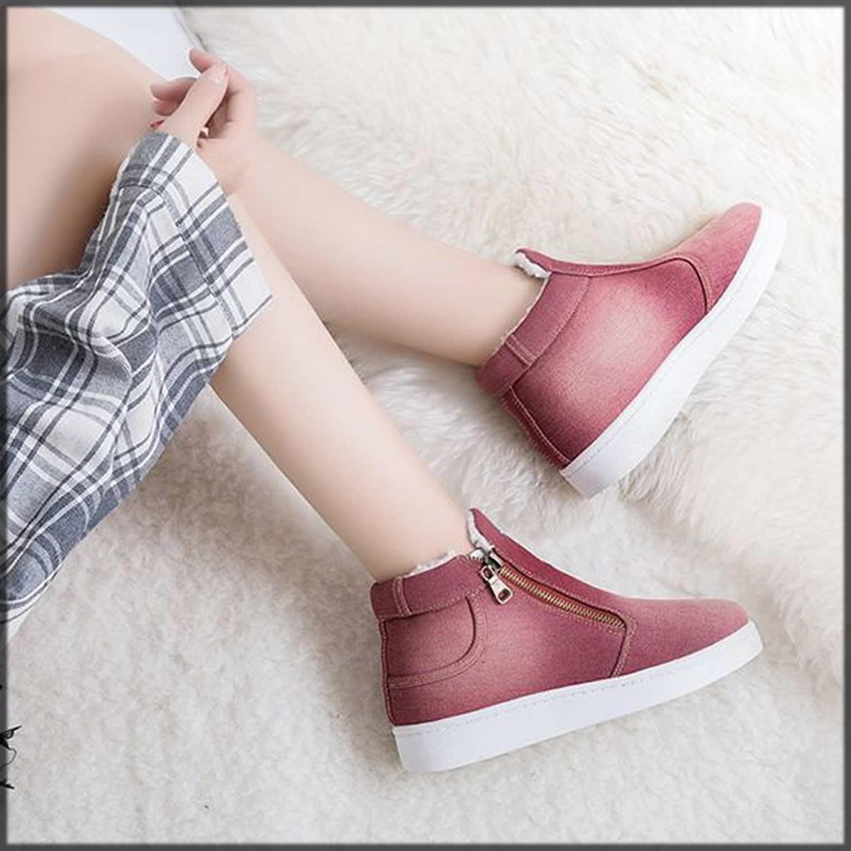 pretty red denim shoes