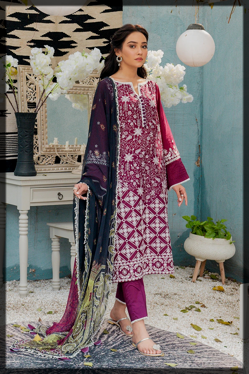 purple and white summer premium lawn dress