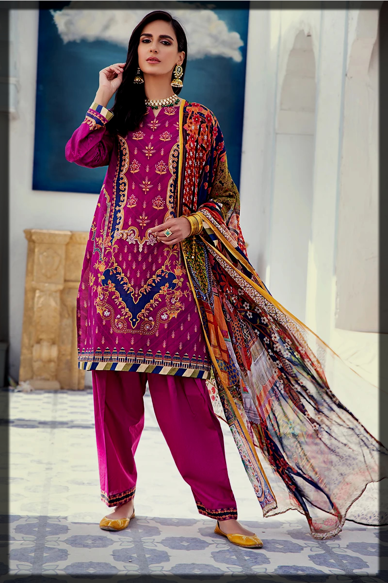 purple summer lawn dress for women