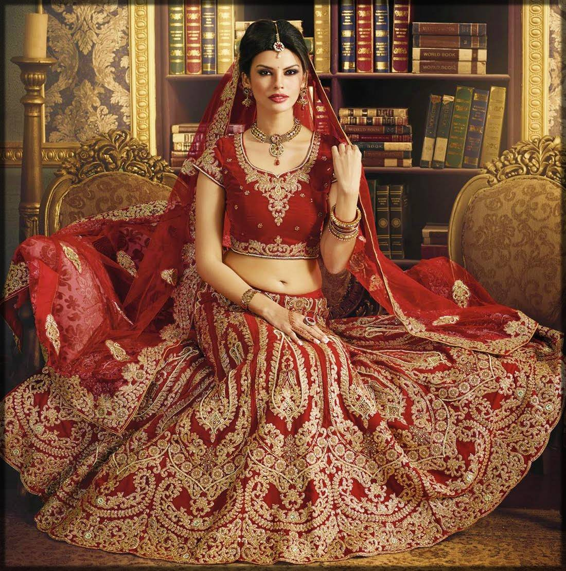 red fancy bridal dress