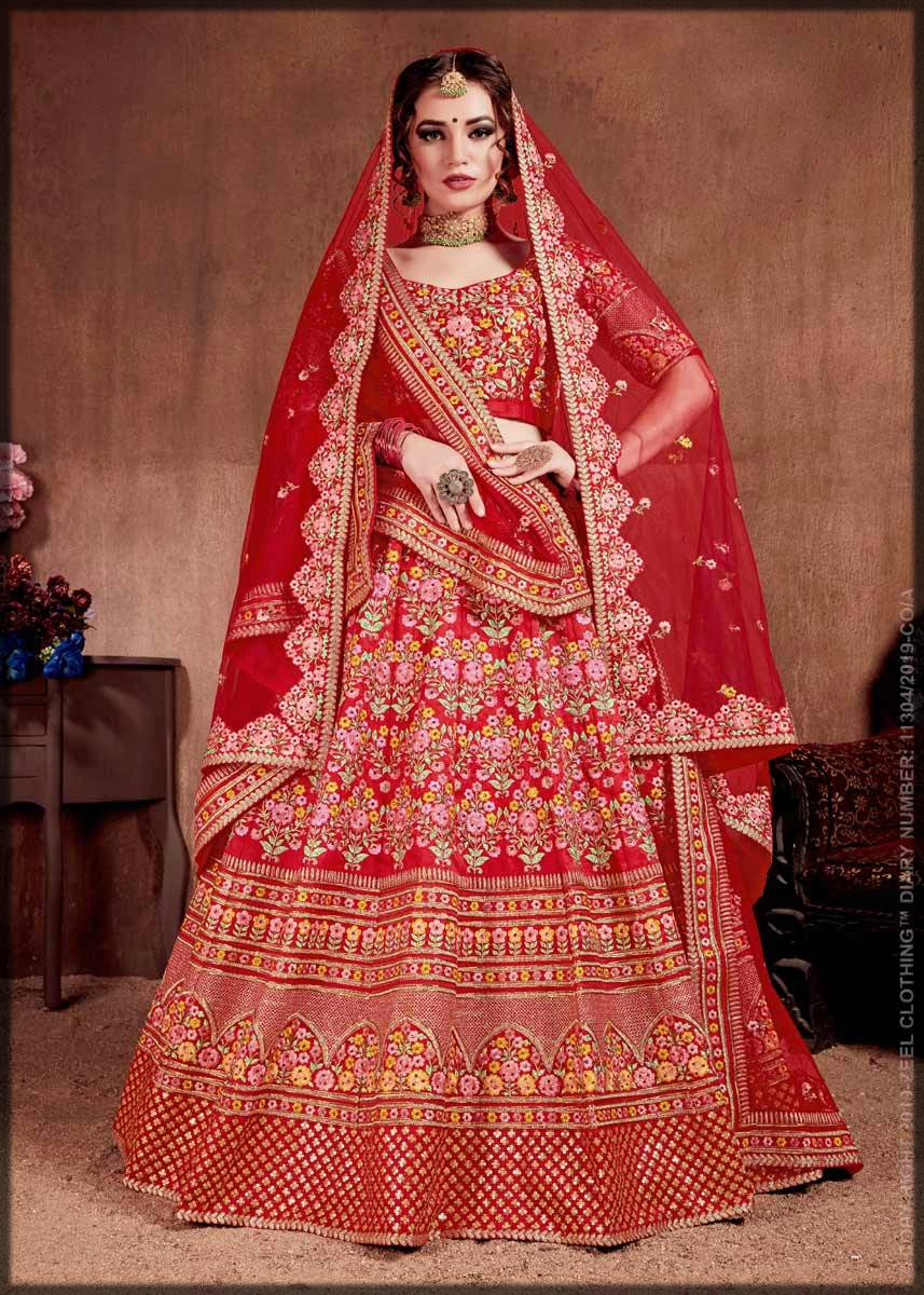 red mulberry silk indian lehenga