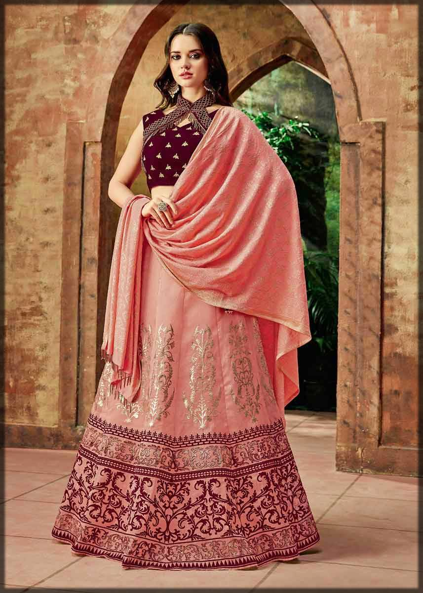 silk lehenga with stylish choli style