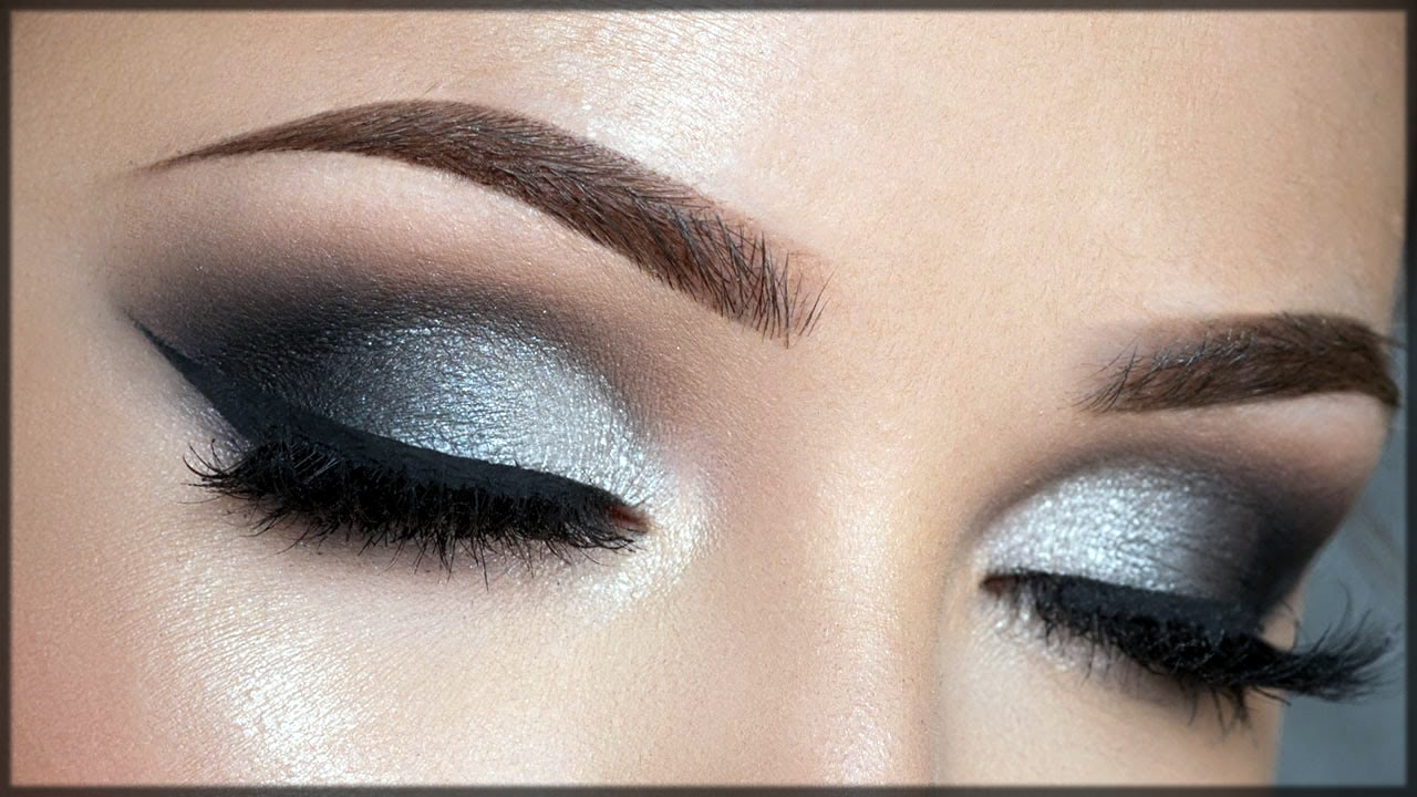 silver smokey eye make up
