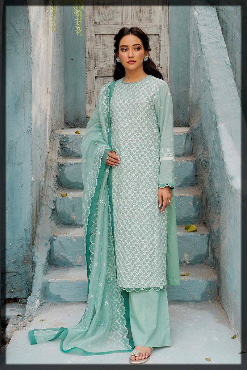 sky blue EMBROIDERED summer lawn dress
