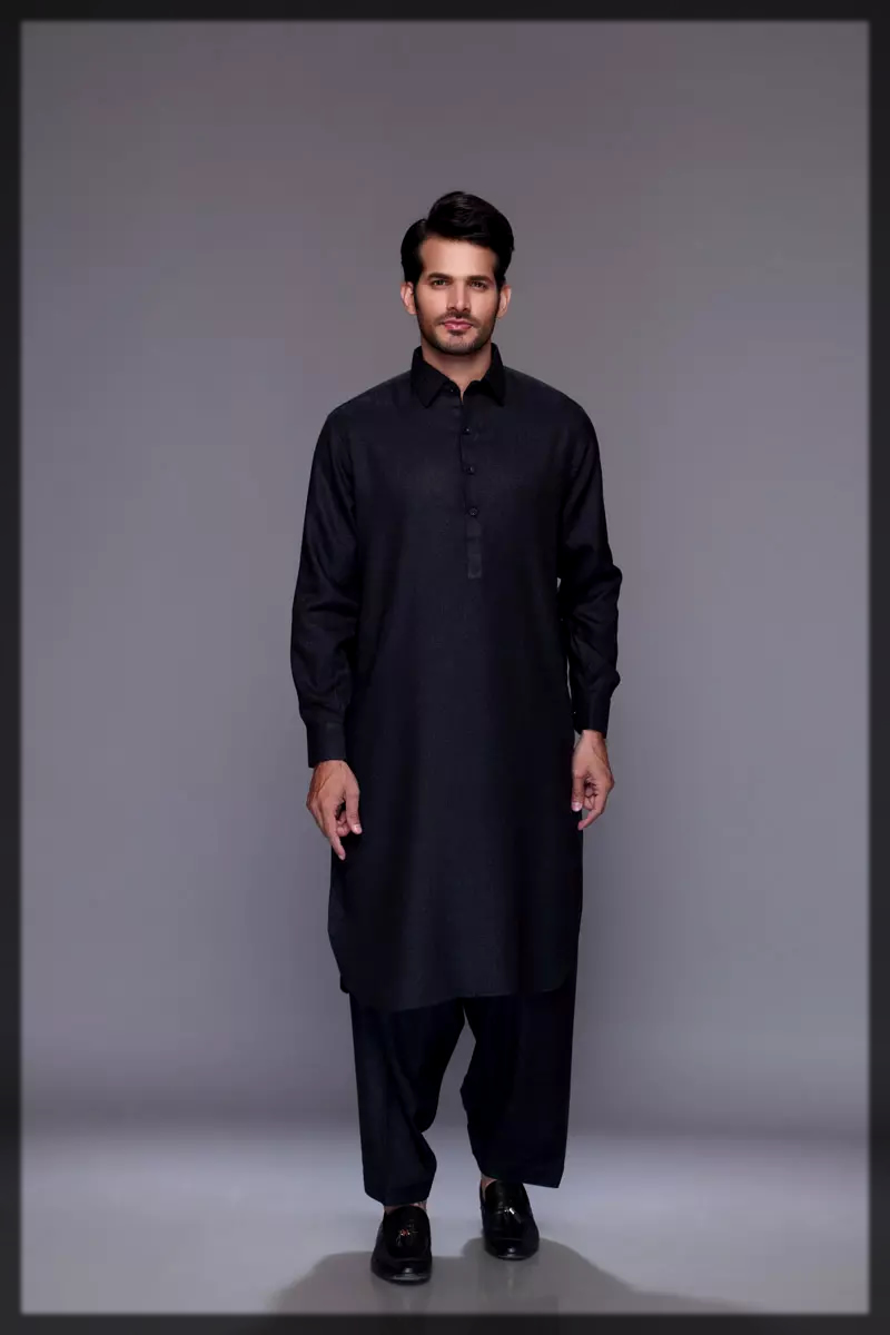 sleek black summer lawn dress for men