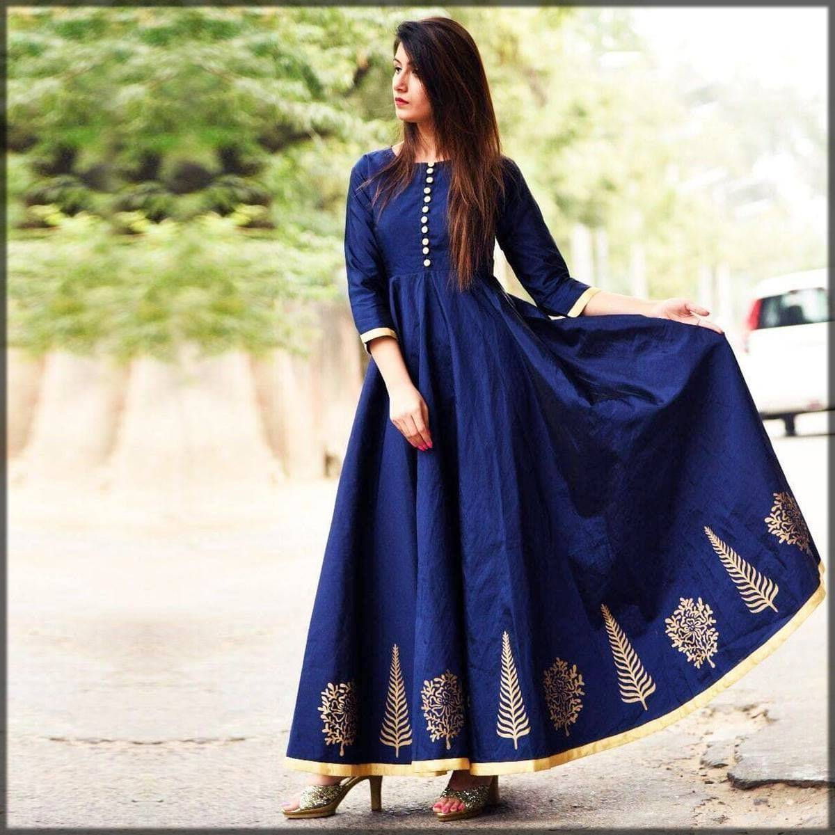 classy casual long frock for ladies