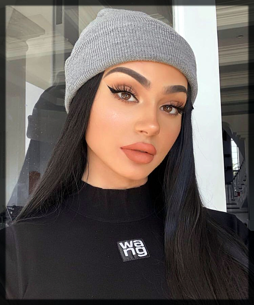 striking winter makeup with black outfit