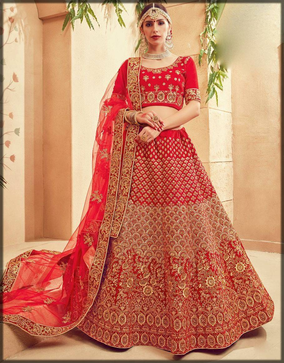 stunning indian style lehenga choli in red