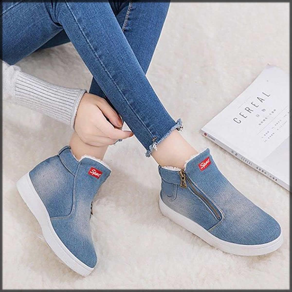 stylish blue denim shoes