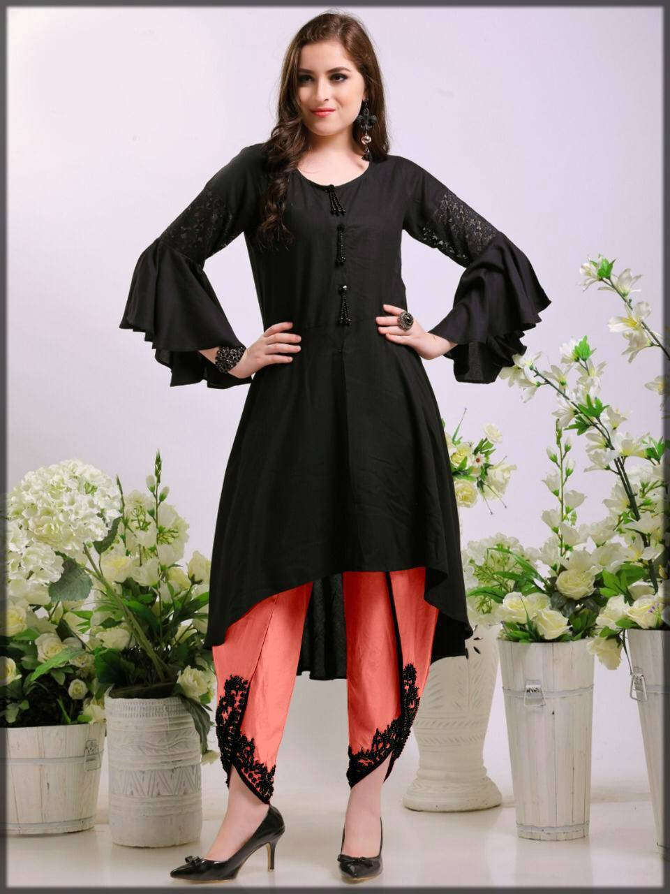 stylish dress with embroidered tulip bottom