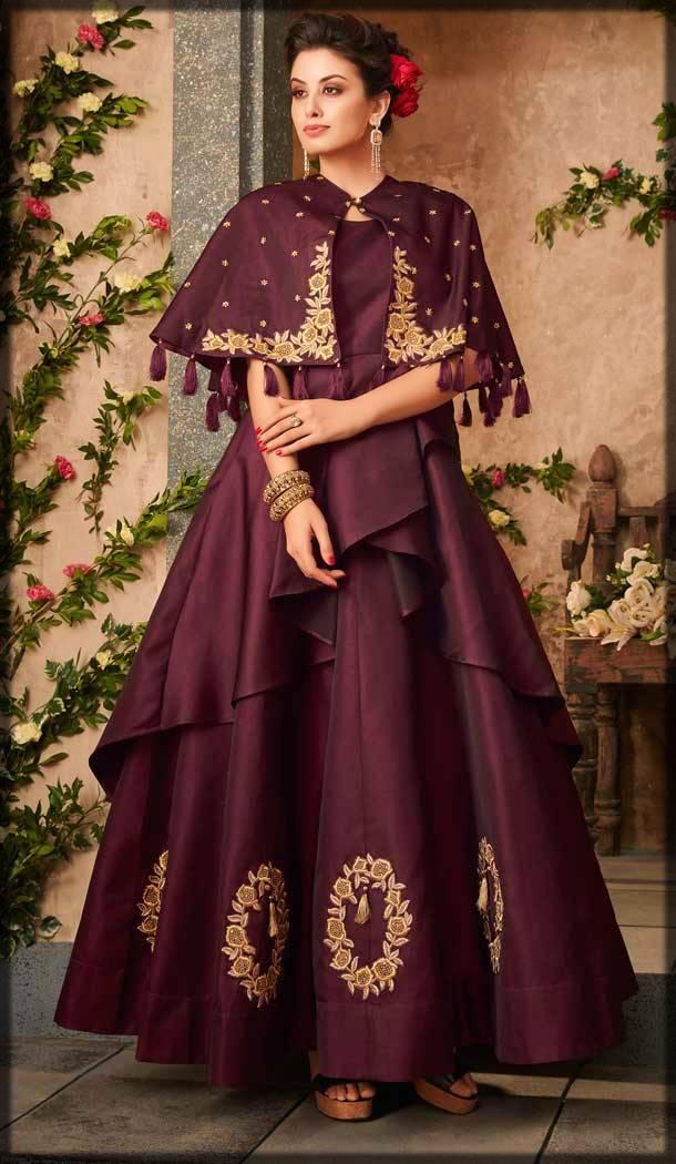 stylish pakistani cape style frock in maroon