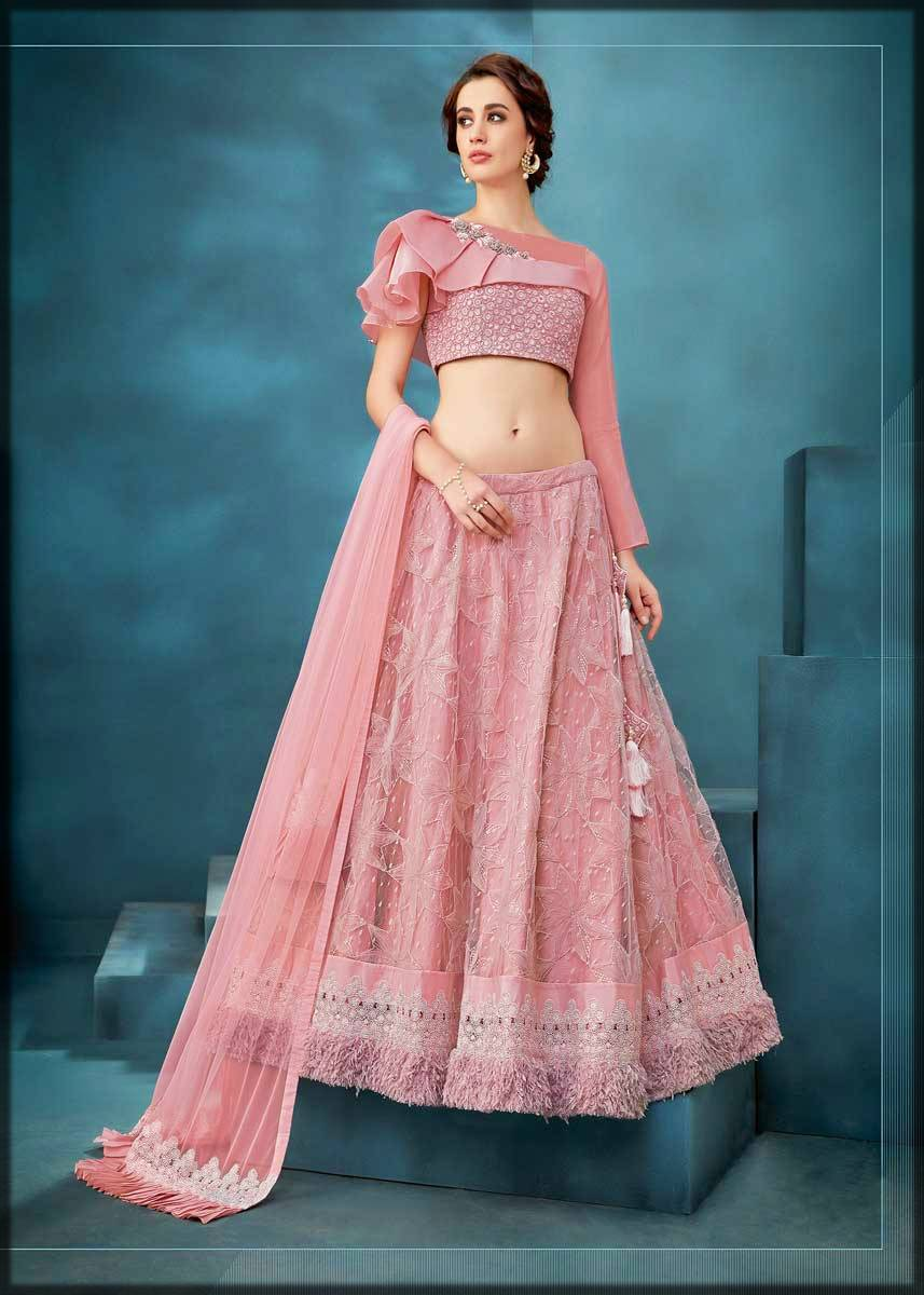 stylish pink choli with net lehenga