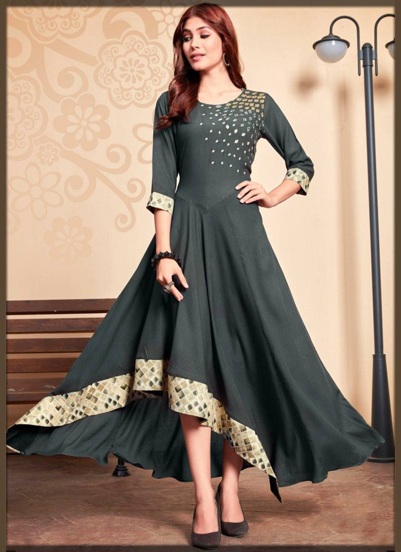 stylish rayon partywear long frock for young ladies